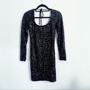 LBD Sequin Backless Bodycon Mini Dress Long Sleeve